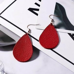 Jewelry - ❤️COMING SOON❤️ Red Leather Dangle Earrings